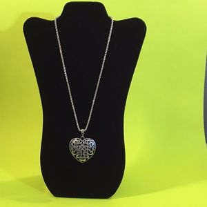 Silver Open Lace Heart & Chain